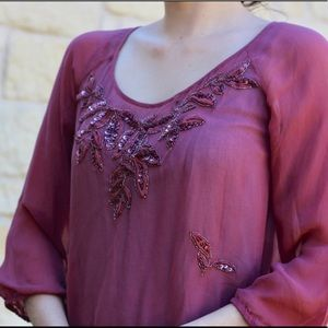 Lucky Brand Pink Sheer Blouse w Detailing